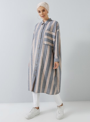Black - Beige - Point Collar - Cotton - Tunic