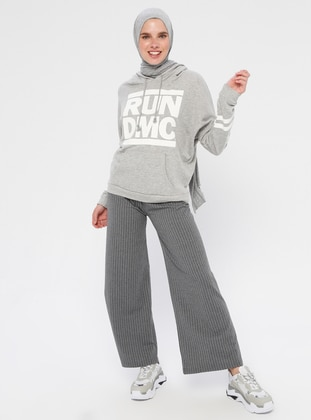 Gray - Stripe - Cotton - Pants