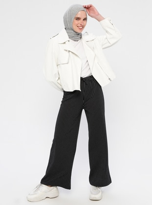 Black - Stripe - Cotton - Pants
