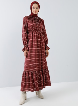 Cherry - Polka Dot - Polo neck - Unlined - Viscose - Dress