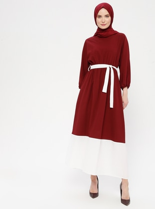 White - Ecru - Maroon - Crew neck - Unlined - Dress