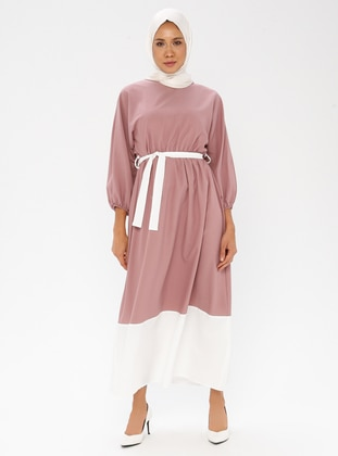 White - Ecru - Dusty Rose - Crew neck - Unlined - Dress