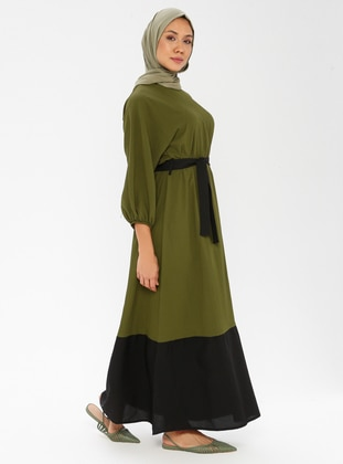Black - Khaki - Crew neck - Unlined - Dress