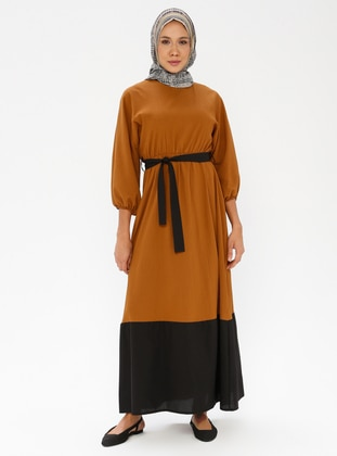 Black - Tan - Crew neck - Unlined - Dress
