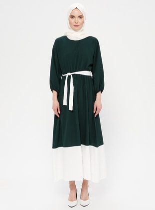 White - Ecru - Emerald - Crew neck - Unlined - Dress