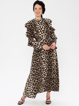 Leopard - Black - Leopard - Crew neck - Unlined - Dress
