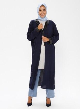 Navy Blue - Shawl Collar - Poncho