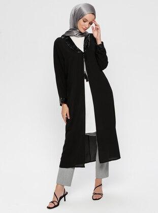 Black - Shawl Collar - Poncho
