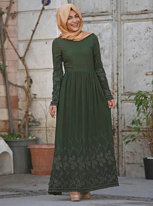 Green - Crew neck - Fully Lined - Cotton - Dress