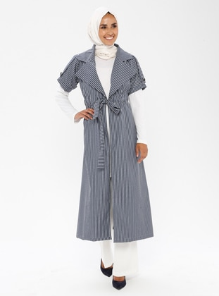 Navy Blue - Stripe - Unlined - Shawl Collar - Trench Coat