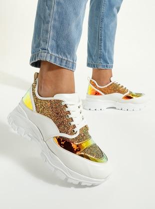 White - Ecru - Gold - Sport - Sports Shoes