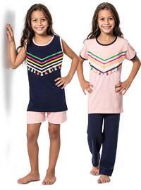 Navy Blue - Pink - Multi - Girls` Pyjamas