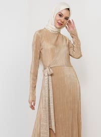 Gold - Unlined - Crew neck - Muslim Evening Dress