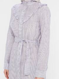 Lilac - Stripe - Button Collar - Unlined - Viscose - Dress