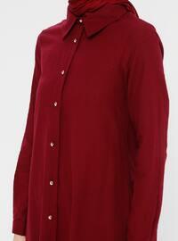 Maroon - Point Collar - Cotton - Linen - Tunic