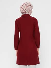 Maroon - Crew neck - Viscose - Tunic