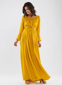 Mustard - Crew neck - Fully Lined - Rayon - Maternity Dress