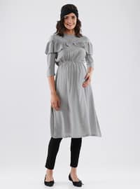 Gray - Crew neck - Cotton - Maternity Tunic