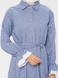 Blue - Checkered - Point Collar - Unlined - Viscose - Dress