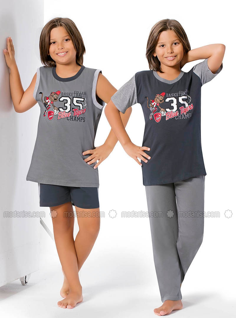 Gray - Anthracite - Boys` Pyjamas