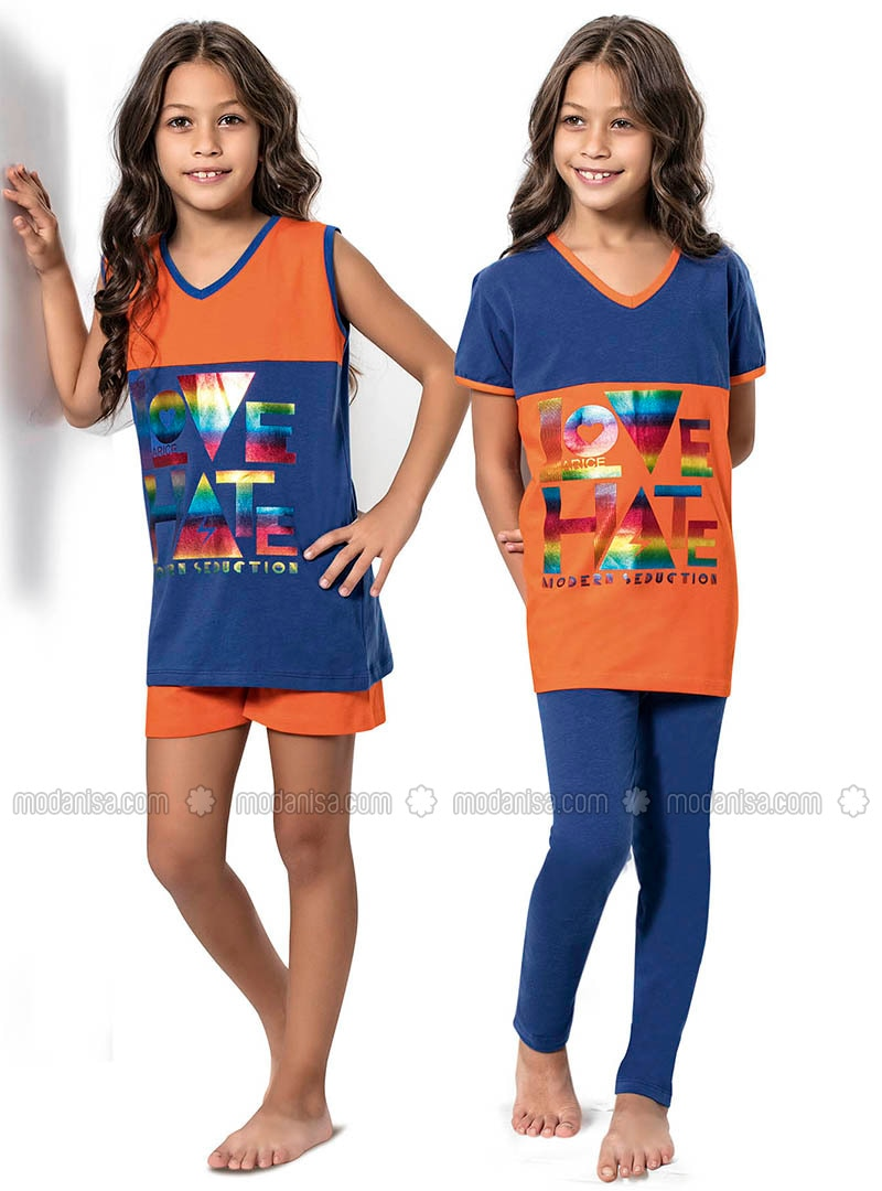 Blue - Orange - Girls` Pyjamas
