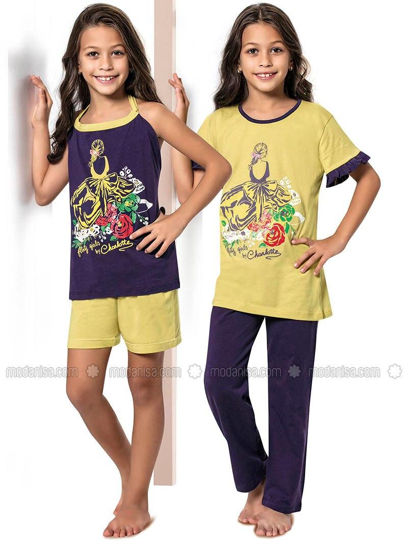 Multi - Mustard - Girls` Pyjamas