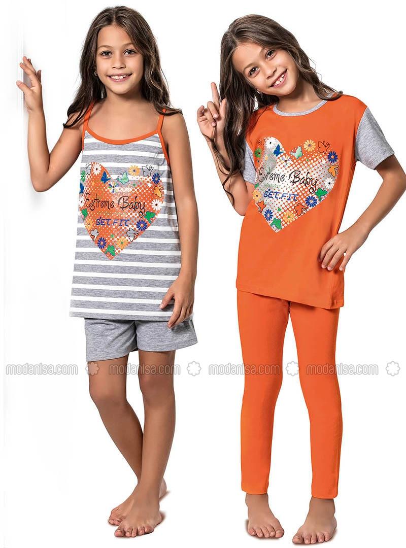 Multi - Crew neck -  - Orange - Girls` Pyjamas