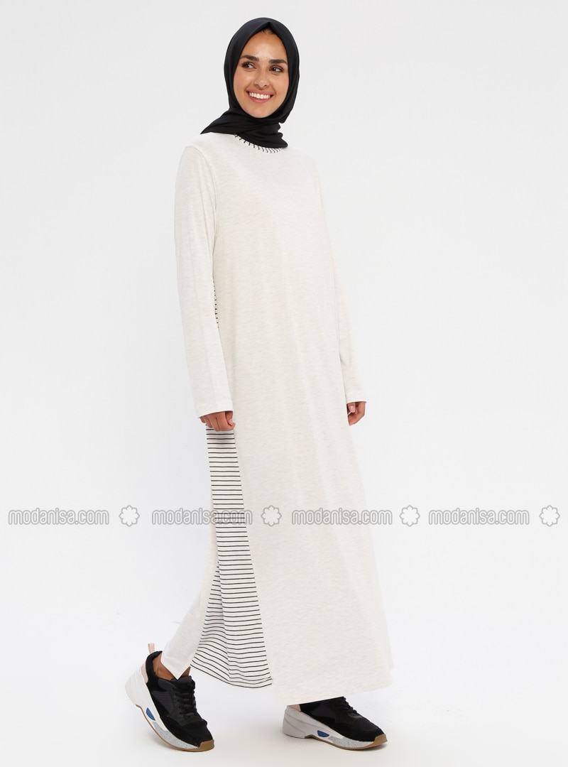 White - Ecru - Stripe - Unlined - Viscose - Dress