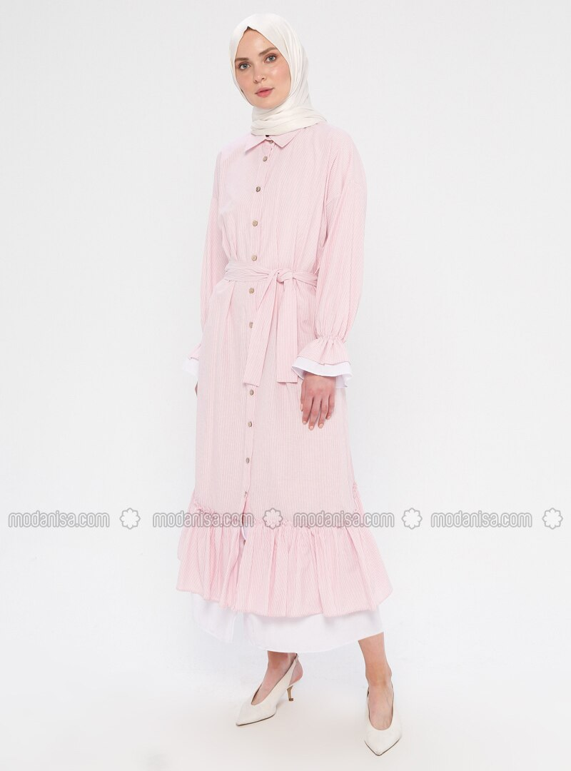 Powder - Stripe - Point Collar - Unlined - Dress
