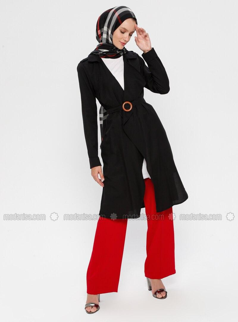 Black - Unlined - Shawl Collar - Cotton - Topcoat