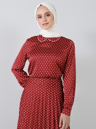 Maroon - Polka Dot - Round Collar - Blouses