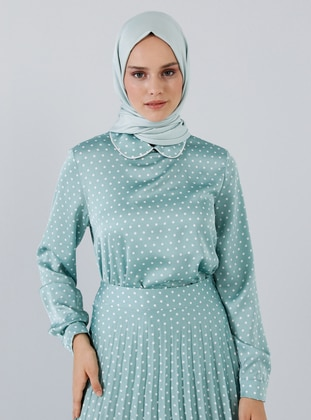 Mint - Polka Dot - Round Collar - Blouses