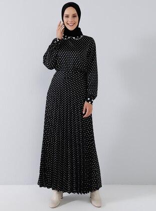 Black - Polka Dot - Round Collar - Blouses