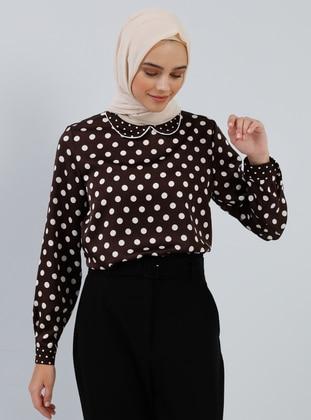 Brown - Polka Dot - Round Collar - Tunic