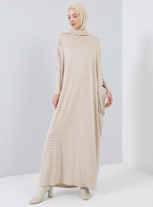 Beige - Stripe - Crew neck - Unlined - Viscose - Dress