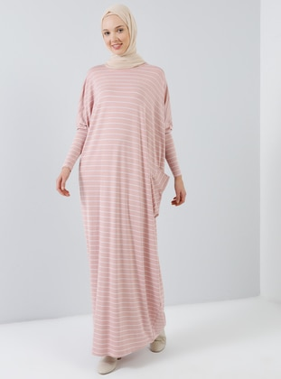 Pink - Powder - Stripe - Crew neck - Unlined - Viscose - Dress
