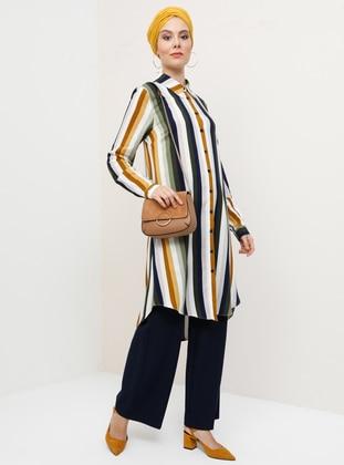 Khaki - Mustard - Stripe - Point Collar - Viscose - Tunic