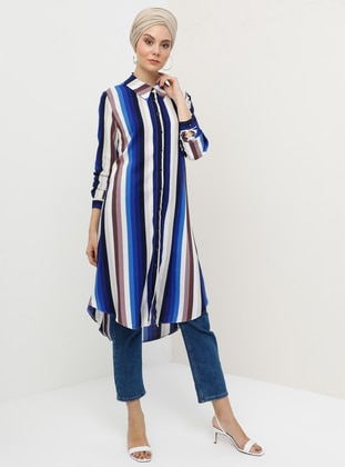 Blue - Plum - Stripe - Point Collar - Viscose - Tunic