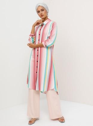 White - Pink - Ecru - Stripe - Point Collar - Viscose - Tunic