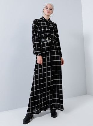 Black - Checkered - Point Collar - Unlined - Viscose - Dress