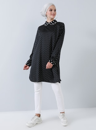 Black - Polka Dot - Round Collar - Tunic