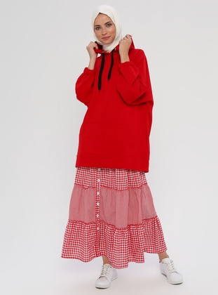 Red - Checkered - Unlined -  - Skirt