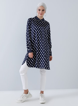 Navy Blue - Polka Dot - Round Collar - Tunic