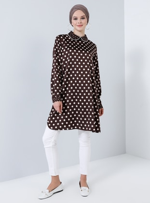 Brown - Polka Dot - Round Collar - Tunic