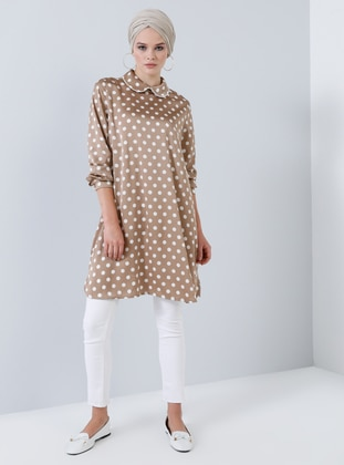 Mink - Polka Dot - Round Collar - Tunic