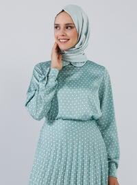 Mint - Polka Dot - Round Collar - Blouses