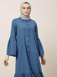 Mavi - Lacivert - Fransız Yaka - Astarsız - Viskon - Elbise