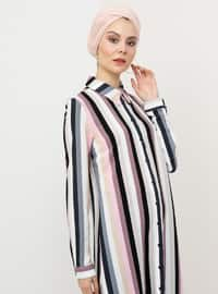 Dusty Rose - Stripe - Point Collar - Viscose - Tunic