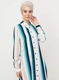 Blue - Turquoise -  - Stripe - Point Collar - Viscose - Tunic