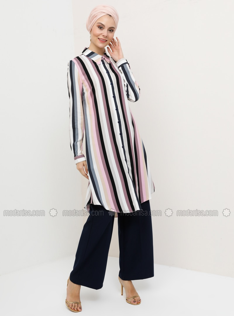 Dusty Rose - Stripe - Point Collar - Viscose - Tunic